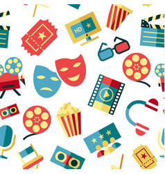 Digital red white cinema icons vector