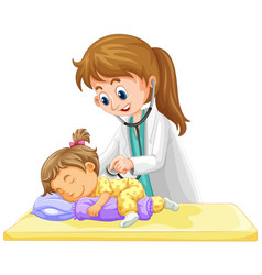 Doctor checking up on little toddler girl vector