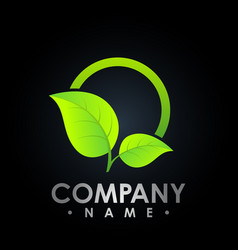 eco logo with leaf symbol colored test tube with vector image