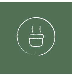 Electrical plug icon drawn in chalk vector