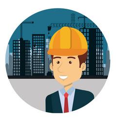 Engineer with helmet in workside character vector