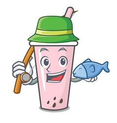 Fishing raspberry bubble tea character cartoon vector