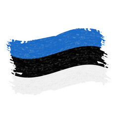 flag of estonia grunge abstract brush stroke vector image