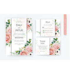 floral wedding invite card rsvp thank you card vector image
