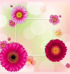 flowers frame with bokeh vector image