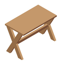 Folding picnic table icon isometric style vector