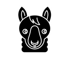 funny llama black icon sign on isolated vector image
