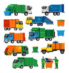 garbage truck trash vehicle transportation vector image