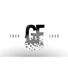 gf g f pixel letter logo with digital shattered vector image