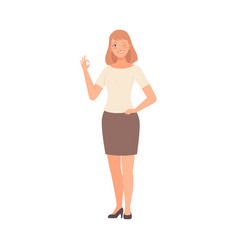 Girl winks and shows ok hand sign vector