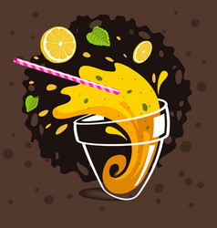 Glass of spilling lemonade making splash flying vector
