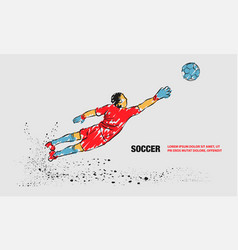Goalkeeper try to catch ball outline vector
