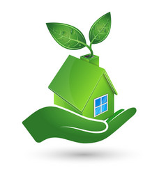 Green house in hand ecology symbol vector