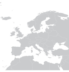 Grey political map of Europe Political Europe map vector image