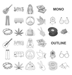 Happy and attribute monochrom icons in set vector