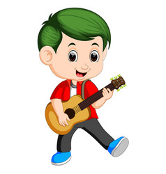 Happy boy playing on acoustic guitar vector