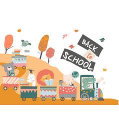 happy cartoon animals traveling to school vector image