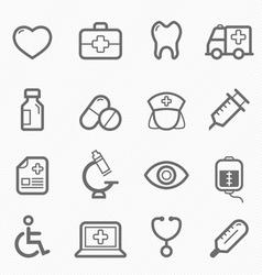 Healthy and medical symbol line icon set vector