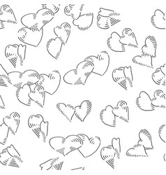 hearts seamless doodles background romantic theme vector image