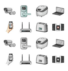 home appliances and equipment cartoonmonochrome vector image