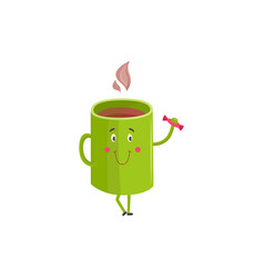 hot coffee or tea cup cartoon character standing vector image