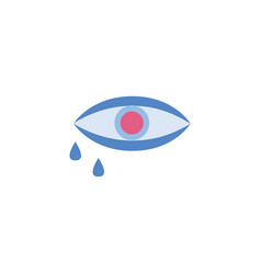 human eye with tears or water drops icon flat vector image