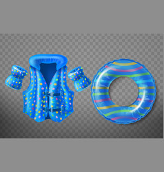 Inflatable swim ring life vest armbands vector