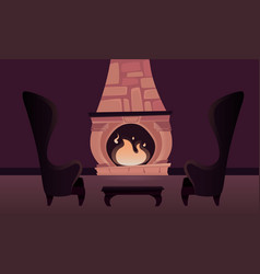 Interior of the castle with a fireplace vector