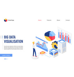 isometric big data analysis vector image