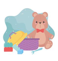 Kids toys object amusing cartoon teddy bear blocks vector