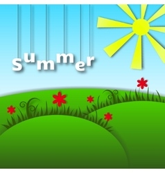 Landscape of paper Caricature Summer vector