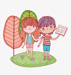 little girl with backpack and boy reading book vector image