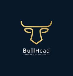 logo bull head line art style vector image