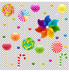 Lollypop set with pinwheel vector