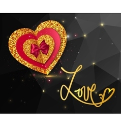 Magic love shining geometric background Gold vector image