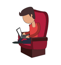 man in chair with laptop vector image