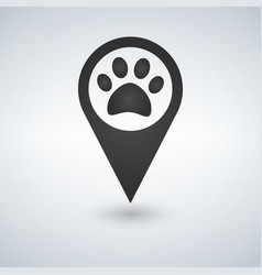map pointer paw print icon vector image
