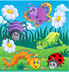 Meadow with various bugs theme 1 vector