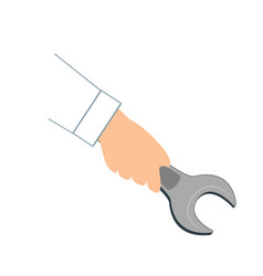 mechanic hand hold spanner tool in hand isolated vector image