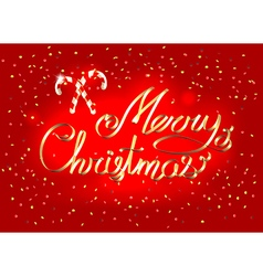 Merry Christmas lettering golden ribbon greeting vector image vector image
