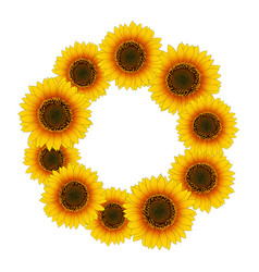 orange yellow sunflower wreath vector image