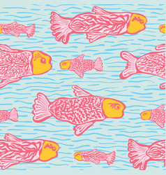 Pastel shoal fish seamless seaweed animal vector