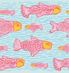 Pastel shoal of fish seamless seaweed animal vector
