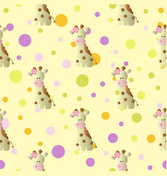 Pattern with cartoon cute baby giraffe and circles vector