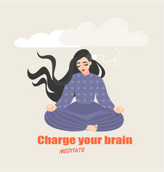 pretty girl sits in a yoga pose and meditates vector image