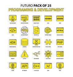 Programming and developement icon set yellow vector