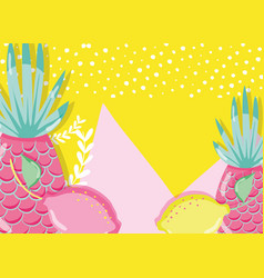 Punchy pastel pineapples and lemons vector