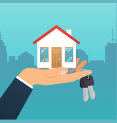 Real estate agent holds key from home vector