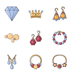 royal jewelry icons set cartoon style vector image