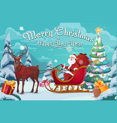Santa claus on sleigh and polar deer christmas vector